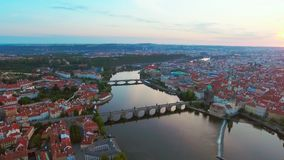 Aerial view of Prague city and River Vitava at morning. stock video footage