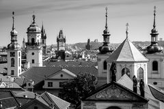 Aerial view of Prague city with rooftops, Europe. Aerial view of Prague city with old roofs in  city center, Czech Republic, European travel - black and white Stock Images