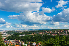 Aerial view of Prague city from stadion Strahov, Prague, Czech Republic.  Stock Images