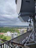 Aerial view of Prague city from the top of antenna building Stock Image