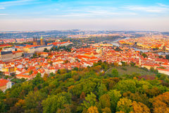 Aerial view of Prague cityscape with castle, Lesser Town and Vltava river from Petrin Hill on sunny day Royalty Free Stock Photography