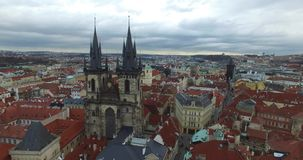 Aerial view of Prague, Czech Republic. Aerial view of Prague, Bohemia, Czech Republic. Hradcany is the Praha Castle with hurches, chapels, halls and towers from stock footage