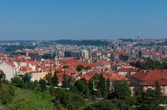 Aerial view of Prague, Czech Republic. View at Prague with red roofs. Photo taken on: Septenber 2013 Stock Photos