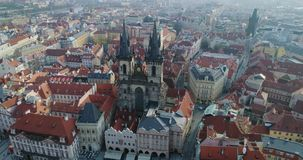 Aerial view of Prague and Kostel of Our Lady before Tyn, Prague, Czech Republic, Aerial view. Aerial view of Prague and Kostel of Our Lady before Tyn, Prague stock footage