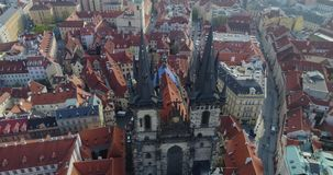 Aerial view of Prague and Kostel of Our Lady before Tyn, Prague, Czech Republic, aerial view. 4k stock video footage