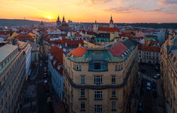 Aerial view of Prague Old Town with amazing sunset sky Stock Photography