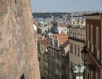 Aerial view of Prague old town from the castle side Royalty Free Stock Images