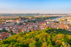 Aerial view of Prague from Petrin Hill Observation Tower, Czech Republic. Stock Image