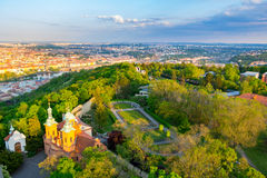 Aerial view of Prague from Petrin Hill Observation Tower, Czech Republic. Royalty Free Stock Photos