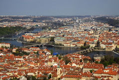 The aerial view of Prague from Petrin Hill. Prague, Czech Republic Royalty Free Stock Images