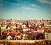 Aerial view of Prague from Prague Castle Stock Photos