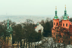 Aerial view of Prague skyline and St Lawrence Church Stock Image