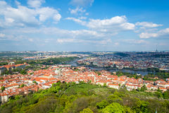 Aerial view of Prague at spring sunny day, Czech Republic Stock Photos