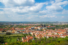 Aerial view of Prague at spring sunny day, Czech Republic Royalty Free Stock Photography