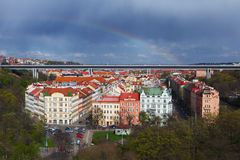 Aerial view of prague taken from vysehrad castle complex Royalty Free Stock Images