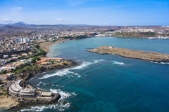 Aerial view of Praia city in Santiago - Capital of Cape Verde Is Stock Images