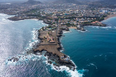 Aerial view of Praia city in Santiago - Capital of Cape Verde Is royalty free stock photography