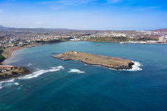 Aerial view of Praia city in Santiago - Capital of Cape Verde Is Stock Photo