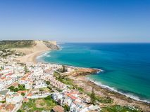 Aerial view from Praia da Luz. Lagos, Algarve, Portugal royalty free stock photos