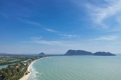 Aerial view of Prajuap Gulf. Aerial view landscape of Prajuap Gulf with blue sky viewed from Khao Chong Krajok temple top view point, Prachuap Khiri Khan stock photos