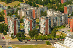 Aerial view of  prefab houses in Karoliniskes, Vilnius, Lithuania Stock Image
