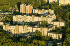 Aerial view of prefab houses in Lazdynai, Vilnius, Lithuania. Aerial view of soviet era prefab houses in Lazdynai, Vilnius, Lithuania Royalty Free Stock Image