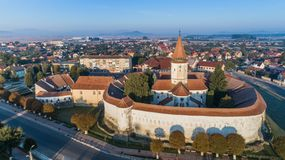 Aerial view of Prejmer fortified Church. Brasov, Romania. Aerial view of Prejmer fortified Church. UNESCO world heritage site royalty free stock image