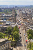Aerial view of Princes street from The Nelson Monument Stock Photography