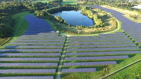 Aerial view of the probably most beautiful photovoltaic power plant.  stock video footage