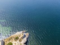 Aerial view of a promontory, coast, cliff, cliff overlooking the sea Royalty Free Stock Photos