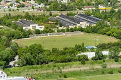 Aerial view of the Provadia football stadium with players royalty free stock photos
