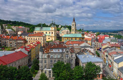 Aerial view of Przemysl town center Royalty Free Stock Photos