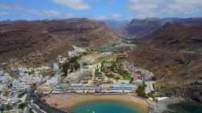 Aerial View of Puerto Mogan Town on Gran Canaria. Beautiful aerial view of the Puerto Mogan town on the island of Gran Canaria stock footage