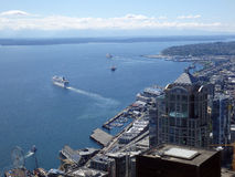 Aerial view of Puget Sound with boats leaving harbor, downtown S Stock Photos