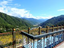 Aerial view of Punakha, Bhutan, from Khamsum Yulley Namgyal Choten. Khamsum Yulley Namgyal Choten stupa is in the Punakha district, Bhutan. It was built with the royalty free stock photography