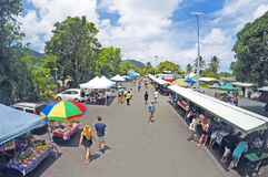 Aerial view of Punanga Nui Market Rarotonga Cook Islands royalty free stock photos
