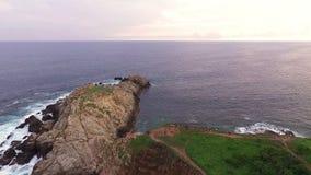 Aerial view of `Punta Cometa` cliffs, in the oaxacan coast. Mazunte Oaxaca, Mexico. Take 1 stock footage
