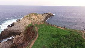 Aerial view of `Punta Cometa` cliffs, in the oaxacan coast. Mazunte Oaxaca, Mexico. Take 2 stock video footage
