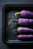 Aerial view of purple daikon radishes on black plate Stock Images