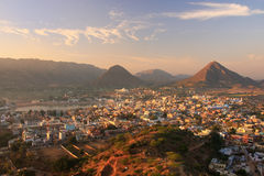 Aerial view of Pushkar city, India Stock Photos