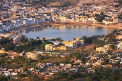 Aerial view of Pushkar city, India Stock Images