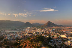 Aerial view of Pushkar city at sunrise, Rajasthan, India Royalty Free Stock Photo