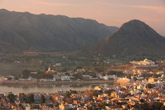 Aerial view of Pushkar city at sunrise, Rajasthan, India Stock Photo