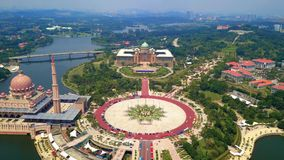 Aerial view of Putra mosque with garden landscape design and Putrajaya Lake, Putrajaya. The most famous tourist attraction in. Kuala Lumpur City, Malaysia royalty free stock photography