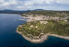 Aerial view of Pylos town and castle in the southern Greece royalty free stock photos