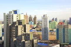 Aerial view of Pyongyang, capital city of the DPRK, North Korea. Aerial view of Pyongyang - capital city of the DPRK, North Korea Royalty Free Stock Photos