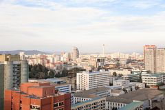 Aerial view of Pyongyang, capital city of the DPRK, North Korea stock images