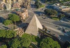 The Pyramid of Cestius in Rome. Aerial view of the Pyramid of Cestius in Rome. On Italian, Piramide di Caio Cestio or Piramide Cestia Stock Photography