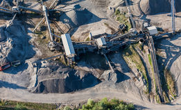 Aerial view of quarry stone heap Royalty Free Stock Images
