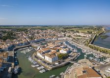 Aerial view of the quay at Saint-Martin-de-Re. France stock photo